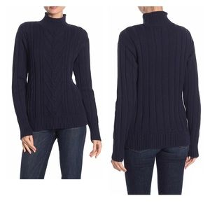 J.crew Mock Neck Cable Knit Sweater Navy Small